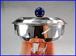 Superbe Boite Puiforcat Style Art Deco Metal Argente Boule Lapis Lazuli Emaillee