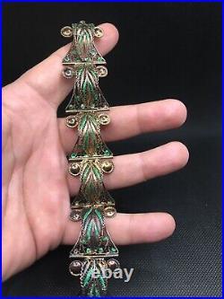 Superbe Bracelet Art Deco Articulé Argent Massif Vermeil Filigrane Email