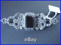 Superbe Broche Onyx Argent 925 Et Marcassites Art Deco Vintage Neuve/new