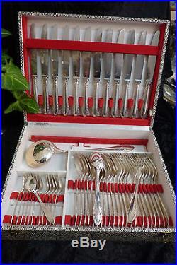 Superbe Menagere Art Deco Metal Argente 49 Pieces + Coffret