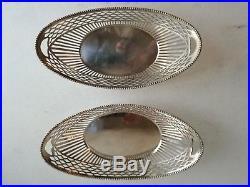 Superbe Paire De Corbeille A Pain Argent Massif Art Déco 2 Silver Bread Basket