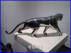 Superbe Panthère / Tigre en Bonze Argenté Signée J. HUGUES. Statue art déco