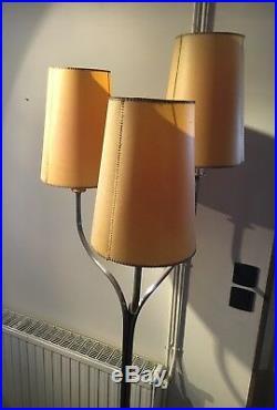 Superbe & Rare Lampadaire Valenti A 3 Lampes, Metal Argenté, Art Vintage Deco
