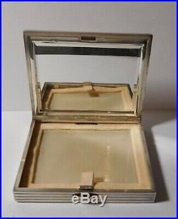 Superbe boite à poudre Art Deco argent massif