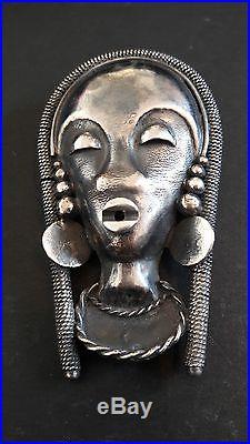 Superbe broche ancienne de créateur en argent, type africaniste, époque art déco