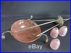 Suspension Lustre Art déco Verre moulé pressé rose métal argenté vasque tulipe