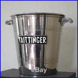 TAITTINGER, seau à champagne taittinger, métal argenté, émaillé, ART DÉCO