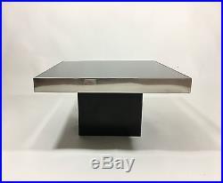 Table Basse / Bout De Canapé Des Années 70 Avec Dessus En Verre Fumé 60 X 60cm