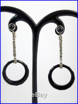 Tès belle boucles pendants d'oreilles ancien argent massif et onyx Art Deco