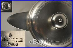 Theiere Verseuse Ancien Art Deco Argent Massif Minerve Tetard Freres 590 Gr