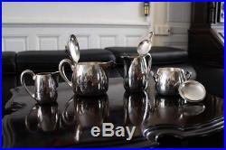 Théière cafetière sucrier pot à lait métal argenté ERCUIS teapot sugar bowl