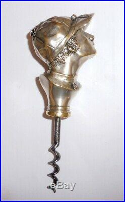 Tire Bouchon Bronze Argente Art Deco Tete Jockey Corkscrew