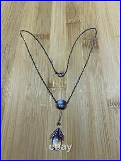 Très Beau Collier Chaîne Pendentif Argent Massif Art Déco Gouttes Saphiret Opale