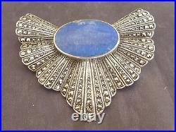 Trés Belle Et Ancienne Broche Art Déco Pour Femme Argent Lapi Lazuli Marcassites