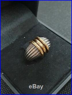 Très ancienne bague en argent et or Art Déco M101