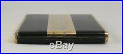 Très beau porte cigarette Art Déco laque noire/vermeil/argent, Art Déco Sterling