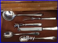 Très belle Ménagère en métal argenté 4 tiroirs modèle Art déco 115 pièces