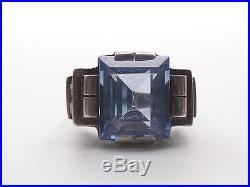 Très belle ancienne bague tank argent massif et pierre bleue Art Deco 1930 T51