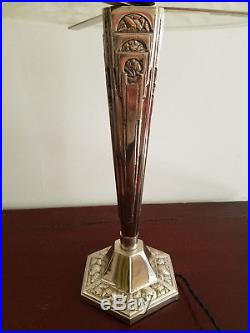 Très grande lampe Art Deco verre ETLING FRANCE numéro 67 pied bronze argenté