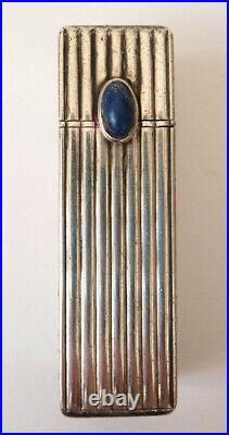 Tube baton rouge à lèvres ARGENT massif Art Deco miroir lapis silveR lipstick