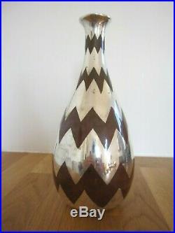 Vase Christofle 1930 Art Deco Frises géométriques Argenté et patiné rouille 24cm
