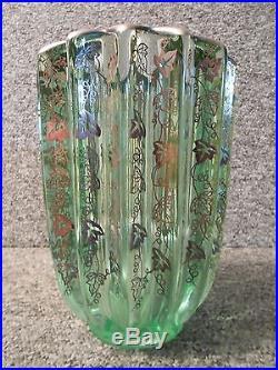 Vase Verre Vert Art Deco 1930 Incrustation D'argent Pierre D'avesn
