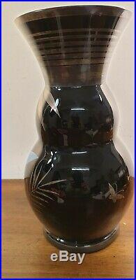 Vase noir inclusion argent Martin pecheur HEM Michel Herman French Art Déco 1930