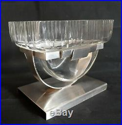 Vide-poches métal argenté et verre 1930 Art Déco